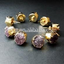 NEW ! Tiny Round Druzy Earrings Druzy Stud Earrings, Gold Plated Drusy Earrings, Amethyst Druzy Stud Earrings