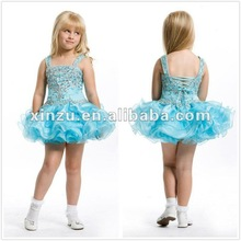2012 Cute Pretty Spaghetti Straps Beading and Lace Up Bodice Tiered Skirt Flower Girl Dress