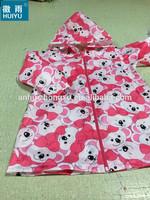 OEM kids children printing poncho raincoat rain coat polyester with PU coating non-toxic eco-friendly