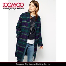Fashion Women's Winter Woolen Plaid Long Coat Outwears