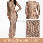 2015 New Fashion Lady Long Sleeve Shiny Gold Sequin Women Maxi Evening Dress