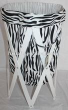 Zebra Pattern Collipsible Laundry Clothes Basket Net