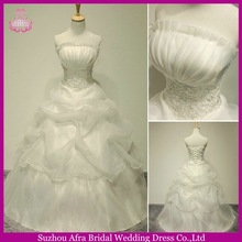 SW579 strapless ball gown organza ruffled islamic women wedding dresses
