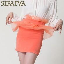Elegant falbala new design high quality solid color short tight skirts