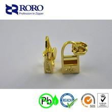 RORO14120908 gold zinc alloy zipper slider with bags puller for zipper