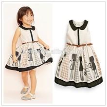 cat print cotton korea summer fashion new model girl dress 2015 kids anger dress