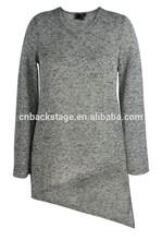2015 latest designs women's tops&blouse&overpull irregular hem plain V-neck long sleeves plus size OEM/ODM