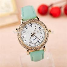 NEW Design vogue watch, crystal adorn cyan leather vogue watch