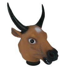 Newest Halloween funny cow head party full head latex animal mask with two horns OX mask