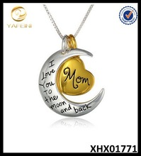 2015 Silver Jewelry, Moon And Heart Necklace, Sterling Silver Jewelry
