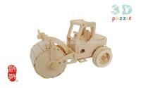 ROAD ROLLER 3D handle puzzle, building transportation model, wooden gift for kids