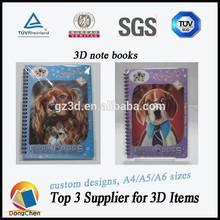 3d notebook/custom notebook manufacturer/3d lenticular spiral notebooks