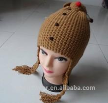 hot sale beanie hat ,acrylic hat / winter hat / free pattern knitted hat earflap