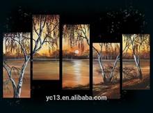 5pcs panel Hot selling africtan landscape oil painting on canvas pl-340