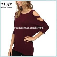 Custom fashion summer rayon soft tops women cool hole shoulder tops 3/4 sleeve tops