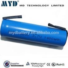 China supplier 3.7v 1400mAh 18650 li cobalt oxide Lithium battery