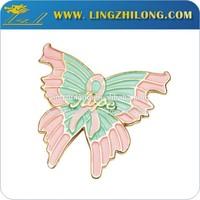 Gift item soft enamel gold badge pin metal butterfly