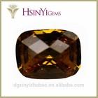 Octagon shape dark yellow emerald cubic zirconia wholesale gemstone beads