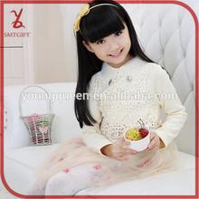 HLL54 girl 100% cotton Lapel Pierced printed flower dress
