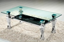 simple and nice look retangle glass top coffee table with stainless steel legs(CJ0969)