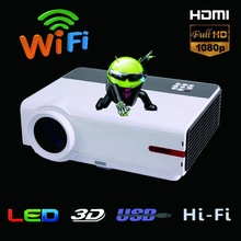 New Arrival Full HD 3D LED Projector Mobile Phone Projector Android1280*800 with Built-in Hi-Fi Speaker