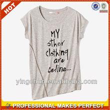 100% cotton irregular fancy design womens t-shirt(YCT-B0319)