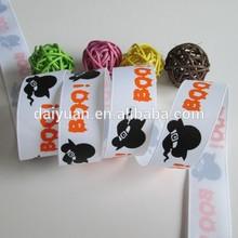 Halloween printed grosgrain ribbon/custom designs printed ribbon
