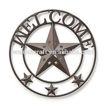 Welcome Star Western Garden Metal Wall Art 16 Round