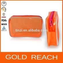Customized Cosmetic Bag PVC/Die Cut Plastic Cosmetic Bag/ Orange Makeup Toiletry Bag
