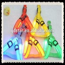 Cheap dog collar retractable nylon LED dog leashes