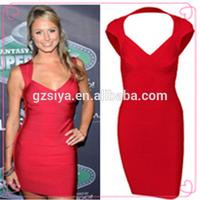 Fashion Party Dress Red Sexy Evening Dress Plain Pattern Sleeveless Dress