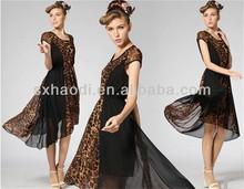 Female leopard grain, both sides show thin black dress,factory price