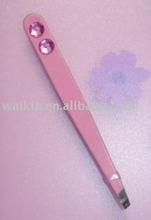 Pink coating stainless steel slanted tip eyebrow tweezers