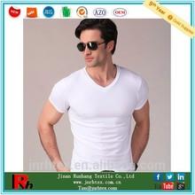 China supplier custom bulk men v neck plain white bamboo tshirt