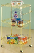 One Shelving and Two Basket Handle Utility Metal Storage Trolley