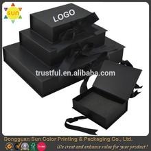 Matte black paper box black cardboard box with ribbon paper box