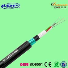 Manufacture 4 6 12 24 48 60 72 96 144 core G652D G655 SM Outdoor single mode Direct burial Fiber Optic Cable GYTA53
