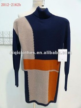 women mixed yarn long sleeve turtleneck sweater for spring,autumn and winter in 2012