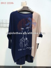 women's asymmetric sweater with Portrait print and diamond for spring,autumn and winter in 2012