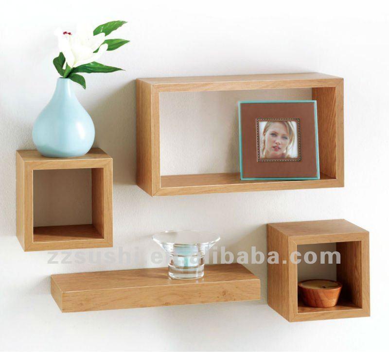 4 roble efecto flotante estantes mdf estantes de pared - Estantes de madera para pared ...