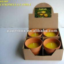 A todo color de impresión del papel de kraft de la vela de citronela y aceite cuadro de la vela con la cabeza superior