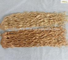Virgin brazilian curly hair weft blondes
