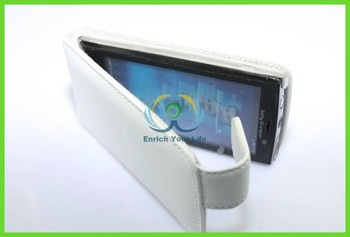 White series two mobile phones leather case for sony-ericsson