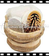 Interesting &Convenient Wooden Gift Set ,bath sponge,pumice stone,comb