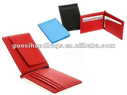 cheap fashion promotional pu leather money clip