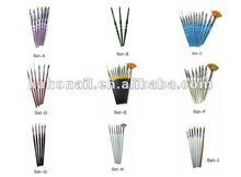 china promotion gift factory fashion nair art nail brush set double color wooden handle nail art pen