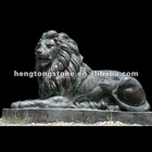 Natural Black Marble Sitting Lion Statue