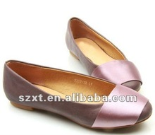 latest plain comfortable purple ladies flat pointed pump shoes