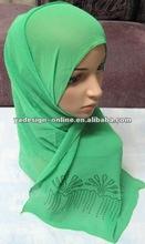 S594 Clearance IMITATED SILK FABRIC LONG beaded Muslim scarf