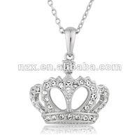 Platinum-plated Crown Necklace Set Embedded Swarovski Crystals 10059